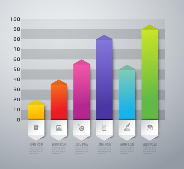 プレゼンテーションのカラフルな棒グラフ要素 Premiumベクター