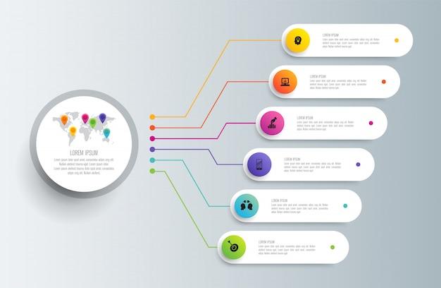 手順とオプションのあるインフォグラフィック Premiumベクター