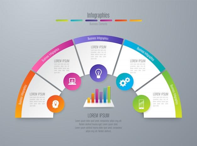Инфографика с шагами и опциями Premium векторы