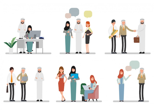 職場でのイスラム教徒アラブ人のチームワーク。国際コーポレートワーキング。 Premiumベクター