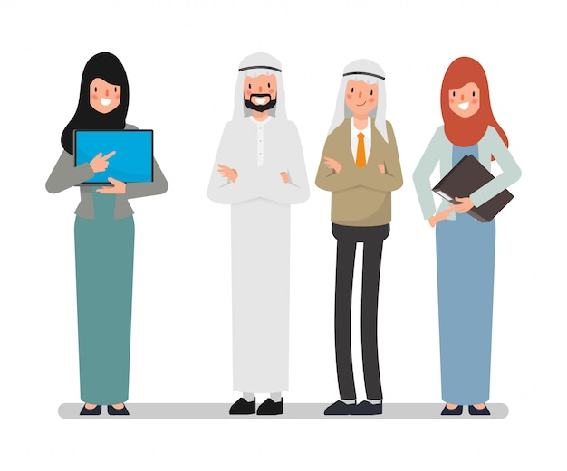 チームワークでアラブのイスラム教徒のビジネス人々。ビジネスマンの接続が成功するために働いています。 Premiumベクター