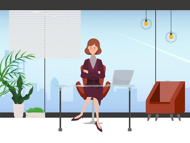 事務室のインテリアデザインの女性実業家。手描きのキャラクターの糞。仕事場 Premiumベクター