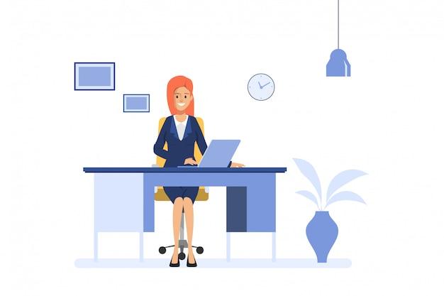 ビジネスの女性がノートパソコンをオフィスの机で働いています。管理オペレーターの仕事ビジネスマンのキャラクター。 Premiumベクター