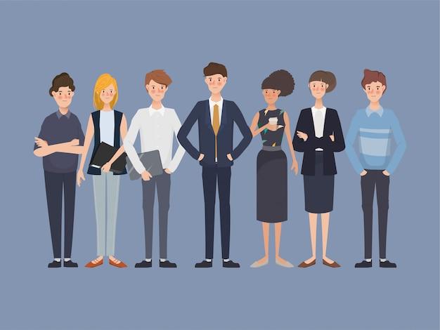 グループチームワーク企業のビジネス人々のセットです。国際労働デー手描きのキャラクターデザイン。 Premiumベクター