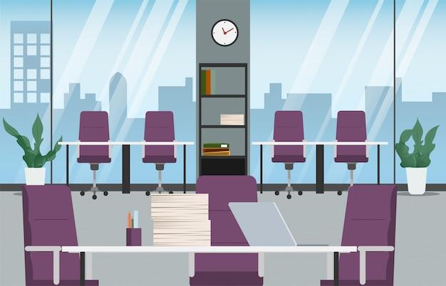 オフィスのインテリアデザイン職場の事務室の様子。 Premiumベクター
