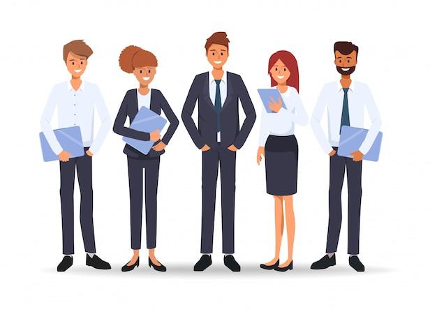 オフィスでのチームワークキャラクターセミナーシーンでのビジネス人々のグループ Premiumベクター