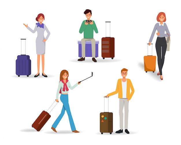 旅行バッグを持って夏休みに旅行する人のキャラクター。 Premiumベクター