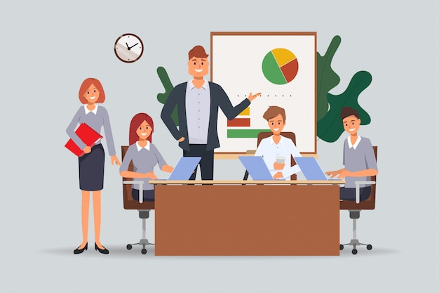オフィスでのビジネス人チームワークセミナー会議。 Premiumベクター