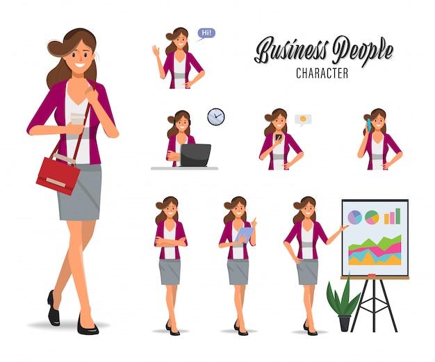 Деловая женщина в работе и образе жизни повседневный набор символов. Premium векторы