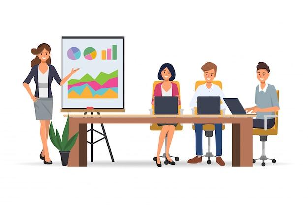 専門家によるプレゼンテーションとオフィスチームワークビジネス会議を行うビジネスピープルセミナー。 Premiumベクター