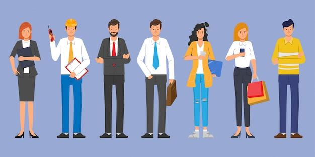 人々は職業ジョブセットで異なるキャラクターをグループ化します。国際労働者の日。 Premiumベクター