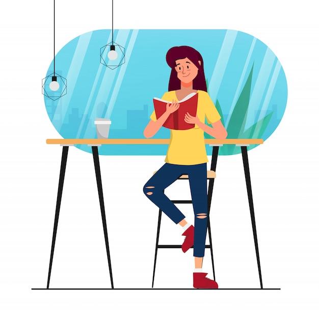 カフェライブラリーショップで本を読んでキャラクターアニメーション女性。 Premiumベクター