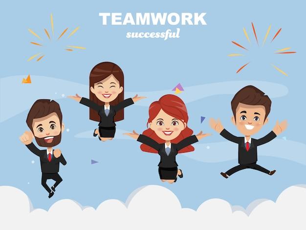 ฺビジネスの人々は幸せで、成功へと向かっています。 Premiumベクター