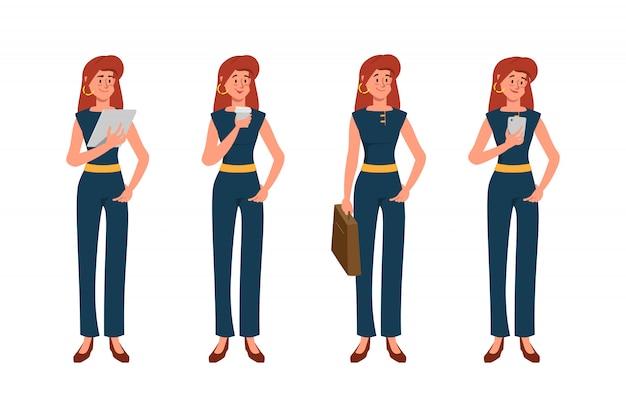 Портрет офиса бизнес женщина представляют набор символов. Premium векторы