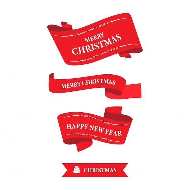 クリスマスラベルと新年あけましておめでとうございますリボンバナータグ。 Premiumベクター