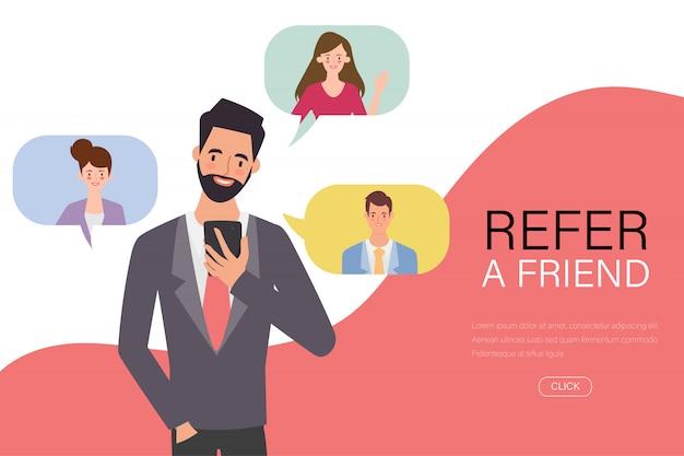 青年実業家は、スマートフォンで友人を紹介します。 Premiumベクター