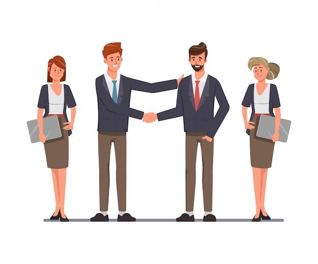 Сыгранность людей бизнес-группы на делах и концепции трясти рук. вектор иллюстрация плоский дизайн. Premium векторы