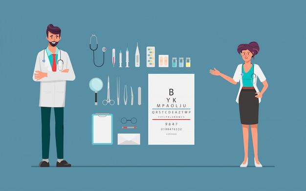 Доктор женщина и мужчина доктор персонаж с инструментами лечения оборудования. больница людей, работающая персонаж. Premium векторы