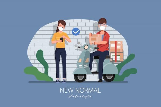 Клиент покупки онлайн концепции. оставайтесь дома и начинайте новый нормальный образ жизни с покупками. Premium векторы