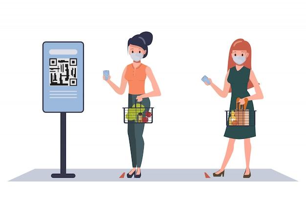 スーパーマーケットでの社会的距離を維持する顧客の人々は、買い物中に安全を保ちます。新しい通常のライフスタイルのデパート。新しい通常のライフスタイルコンセプト。 Premiumベクター