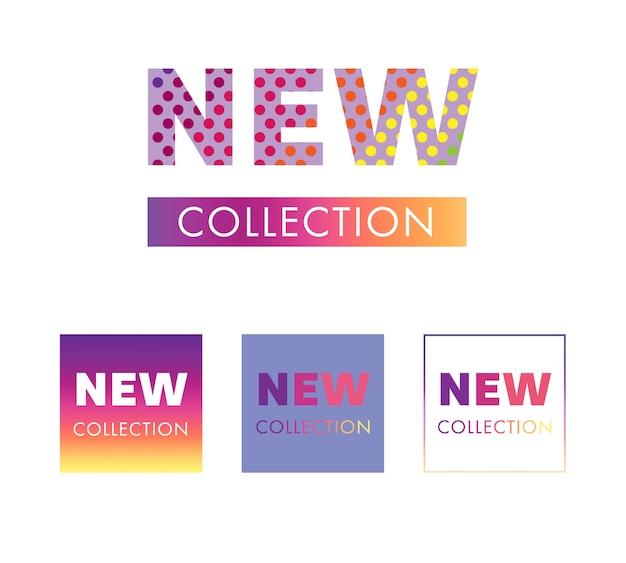 新しいコレクションタグとバナーデザイン。 Premiumベクター