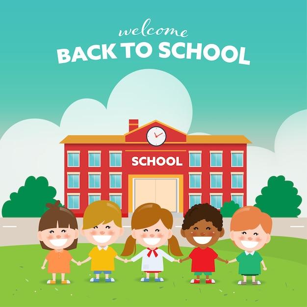 友人と一緒に学校の子どもに戻る。 Premiumベクター