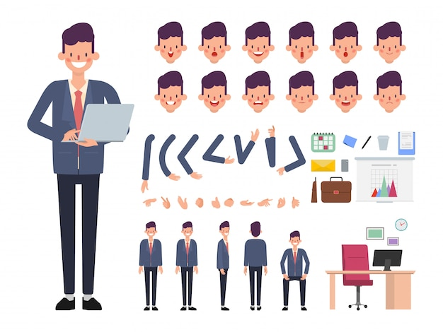 ビジネスマンのキャラクターのアニメーションの準備ができて。 Premiumベクター