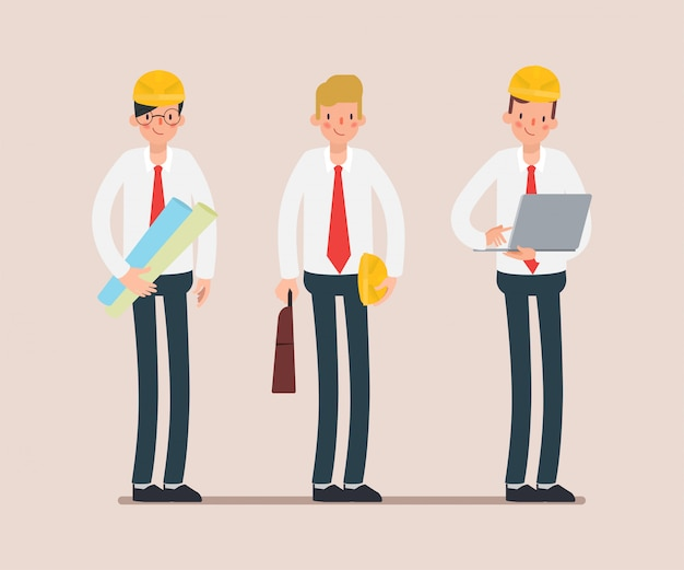 Инженер команде промышленности характер анимации сцены. Premium векторы