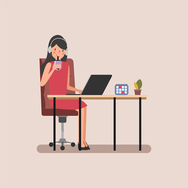 仕事に満足している実業家のキャラクターアニメーションシーン。 Premiumベクター