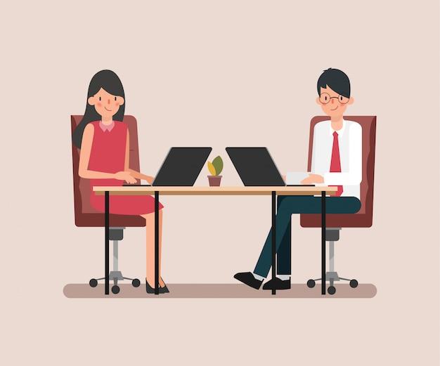 Анимация сцены деловых людей коллеги по команде. Premium векторы