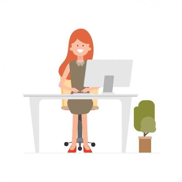 コールセンターの通信にラップトップで働く女性。 Premiumベクター