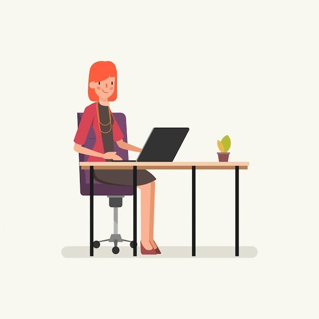 ビジネスの女性がラップトップコンピューターに取り組んでいます。 Premiumベクター