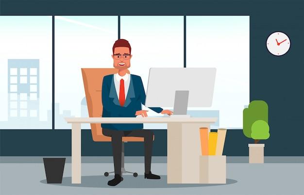 彼の机に座っていると働いているマネージャーのビジネスマン。 Premiumベクター