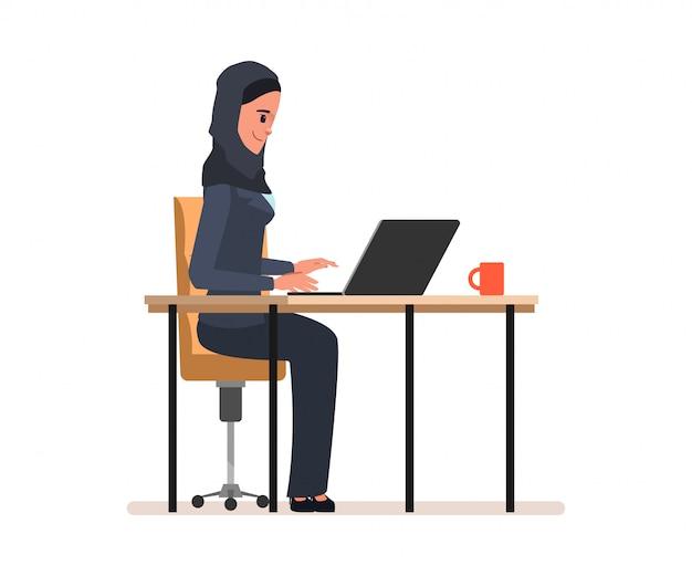アラブ人またはイスラム教徒の管理者の仕事の性格。 Premiumベクター
