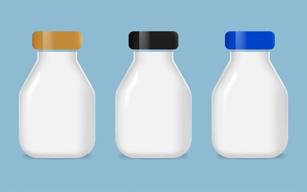Набор стеклянных молочных бутылок Premium векторы