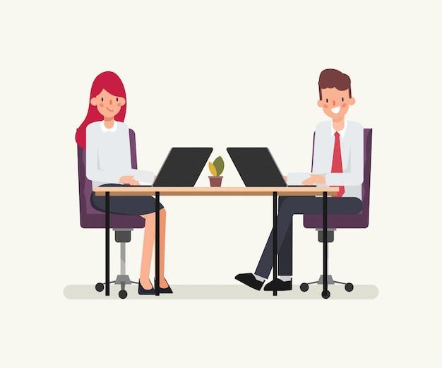 Анимационная сцена для деловых людей коллеги. Premium векторы