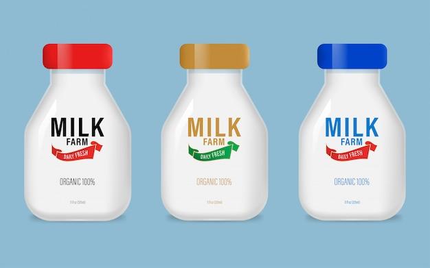 Маркируйте натуральное органическое молочное суточное изделие в бутылке. Premium векторы