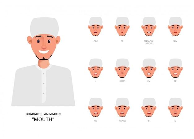 Губная синхронизация рта, анимация арабская или мусульманская. Premium векторы