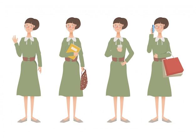 女性のライフスタイルアニメのキャラクターセット。 Premiumベクター