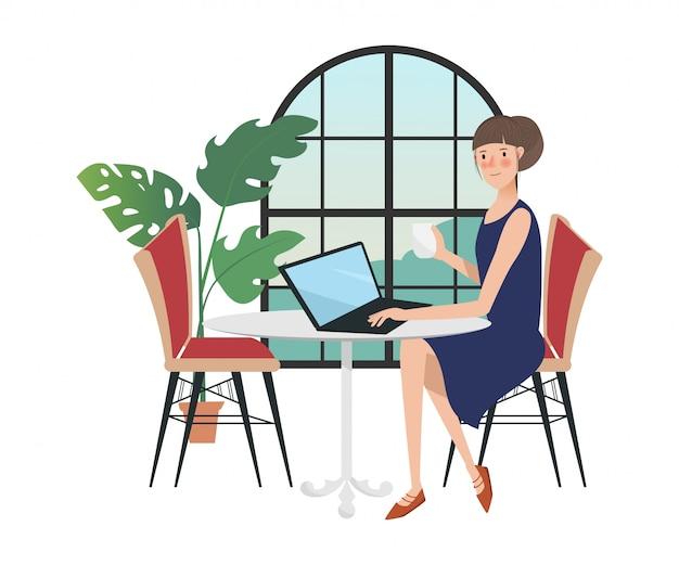 窓の近くのラップトップで働くフリーランサーの女性キャラクター。 Premiumベクター