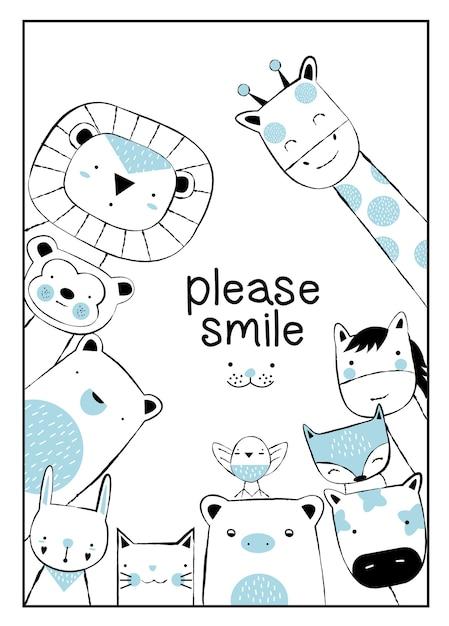 かわいい動物の漫画の手描きのスタイル Premiumベクター