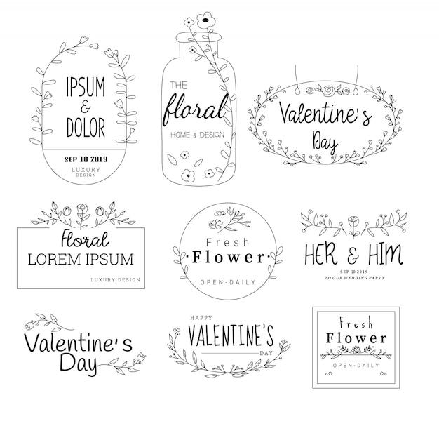 結婚式、花屋、手描きのスタイルの花のフレームセット Premiumベクター