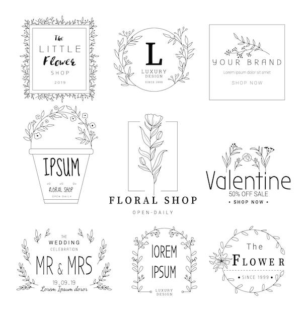 Цветочные рамки для свадьбы, цветочный магазин, рисованный стиль Premium векторы