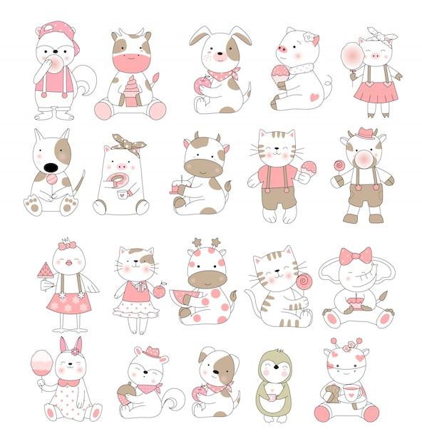 かわいい赤ちゃん動物漫画手描きスタイル Premiumベクター