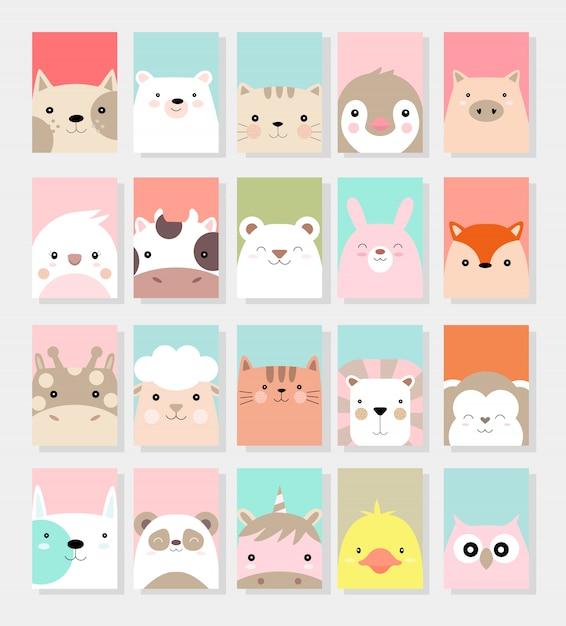 かわいい赤ちゃん動物カード漫画手描きスタイル Premiumベクター