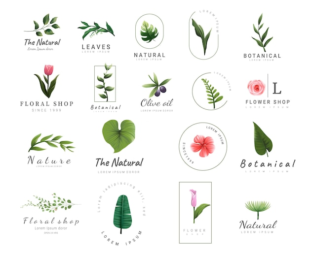 Премиум цветочные шаблоны логотипов Premium векторы