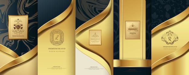 Роскошный логотип с золотой упаковкой Premium векторы