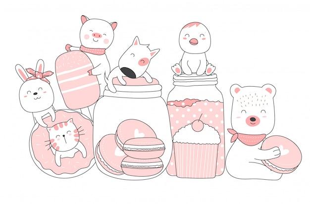 かわいい動物漫画手描きスタイル Premiumベクター