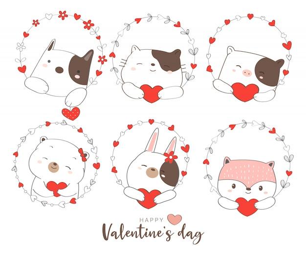 かわいい動物漫画手描きスタイルの幸せなバレンタインデー Premiumベクター