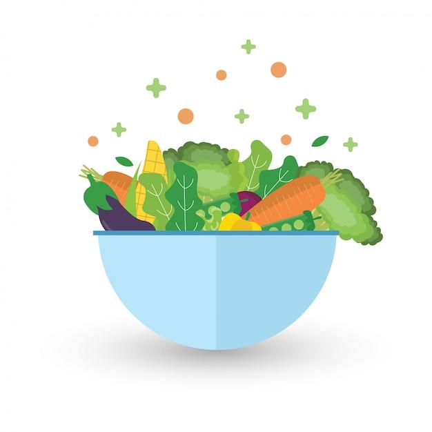 Салат с миской. зеленые овощи здоровой пищи. Premium векторы